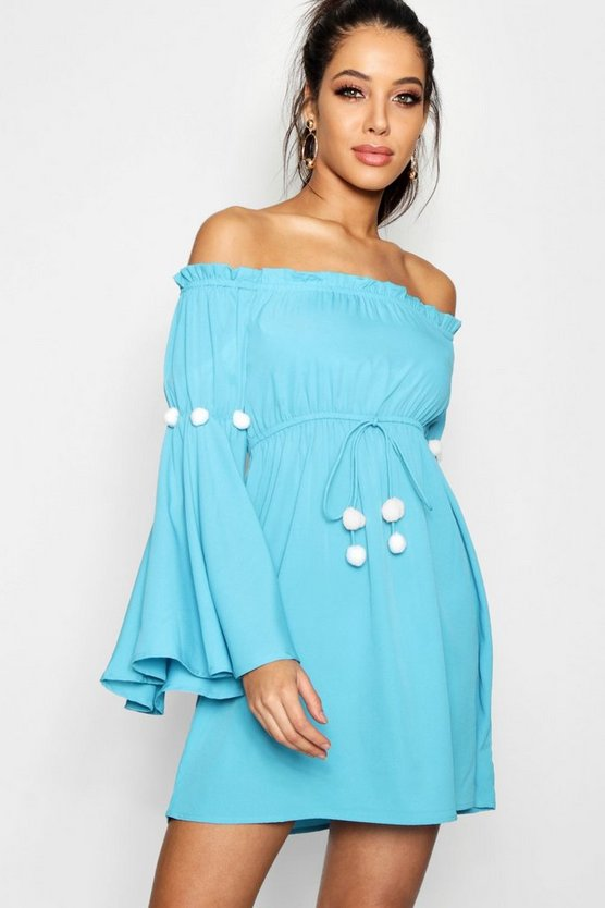 Pom Pom Bardot Beach Dress