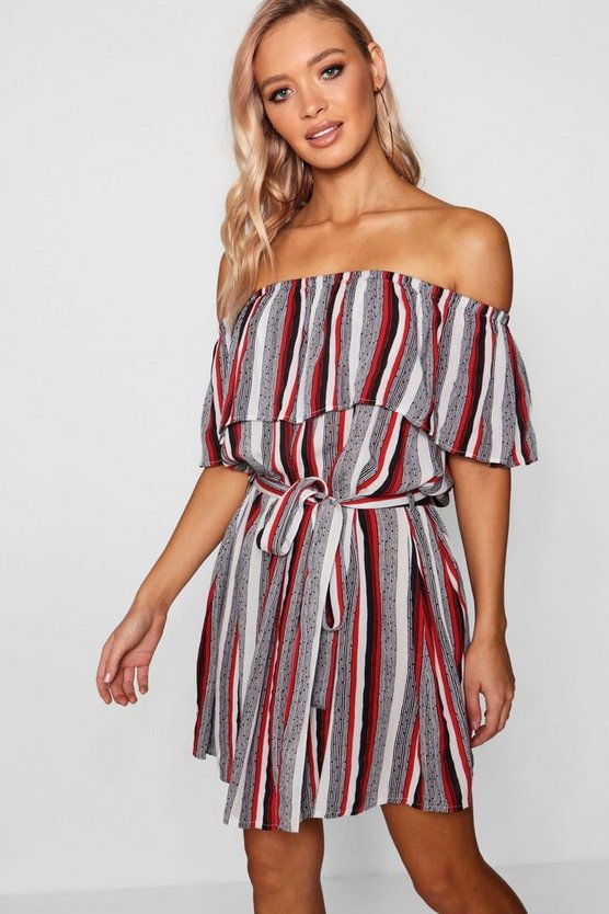 Freya Stripe Bardot Beach Dress