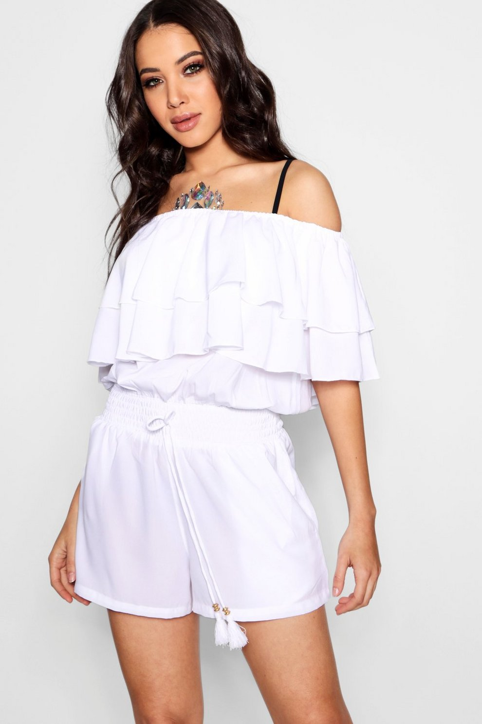 Boohoo Bardot Ruffle Beach Playsuit Discount Low Shipping Best Particular Discount Outlet Cheapest Price Online llH49mzk7X
