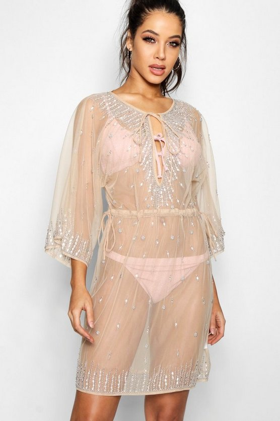 Becki Embellished Sheer Beach Kaftan