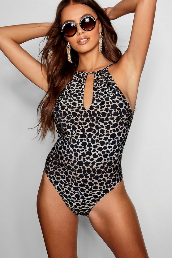 Paris Hilton Animal Print Halterneck Keyhole Swimsuit