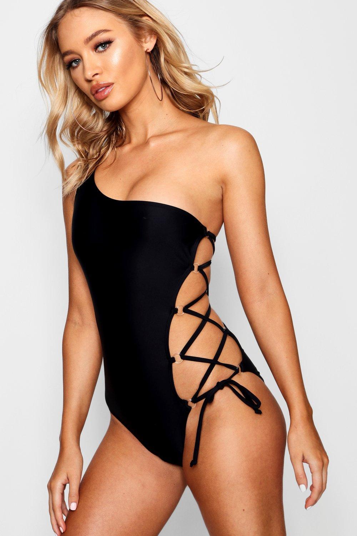 Купить Swimsuits, Сплошной купальник со шнуровкой на ремне, boohoo