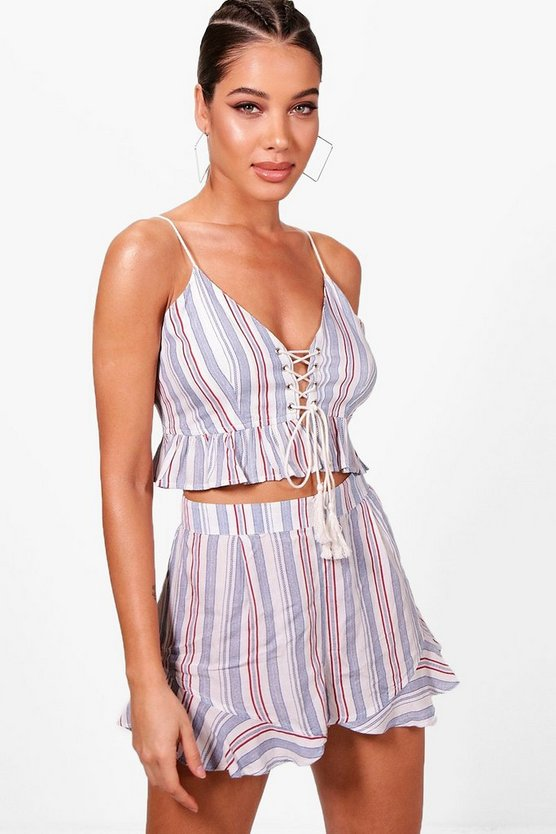 Izzy Pinstripe Lace Up Beach Co-ord