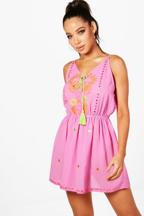 Embroidered Tassel Beach Dress