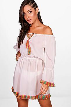 Cerys Bardot Tassel Beach Dress