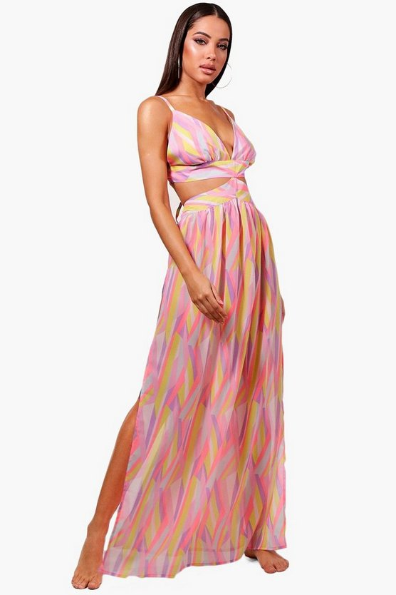 Belle Chevron Cut Out Beach Maxi Dress