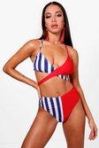 Bikini taille haute à fines rayures contrastées Bodrum autre image