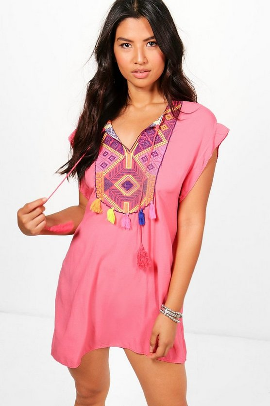 Lydia Embroidered Tassel Beach Kaftan