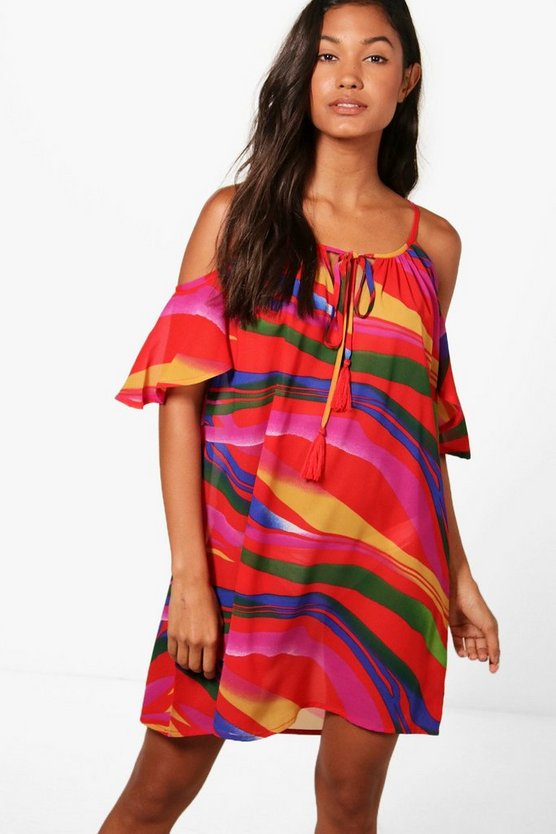 Lois Rainbow Wave Cold Shoulder Sun Dress