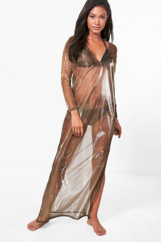 Clara Mermaid Metallic Mesh Maxi Beach Kaftan