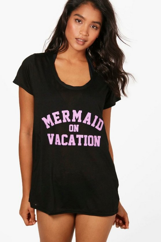 julia t-shirt de plage mermaid on vacation