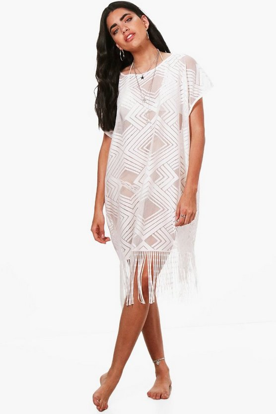 Ava Fringed Beach Kaftan