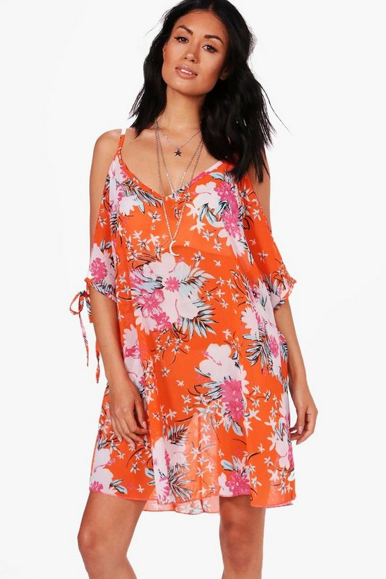 Daisy Floral Tie Sleeve Cold Shoulder Beach Dress