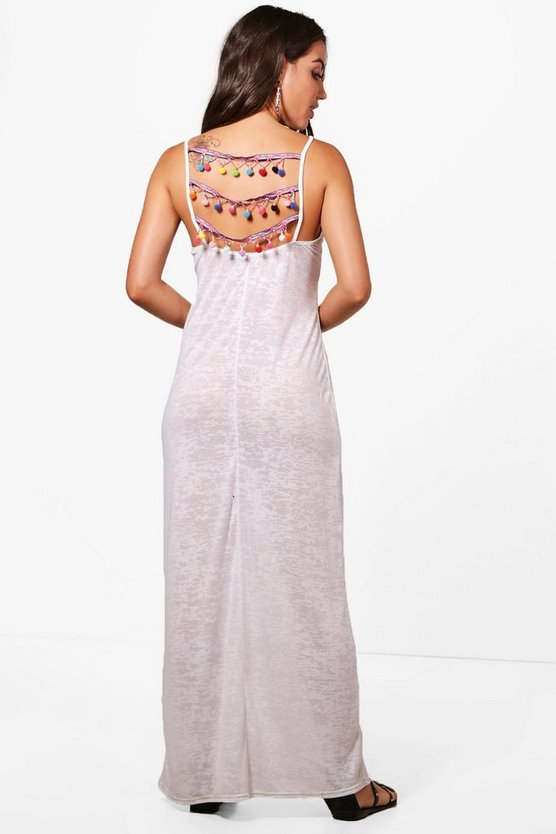 Tegan Pom Pom Detail Jersey Maxi Beach Dress