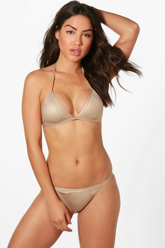 Venezvela Metallic Clean Triangle Bikini