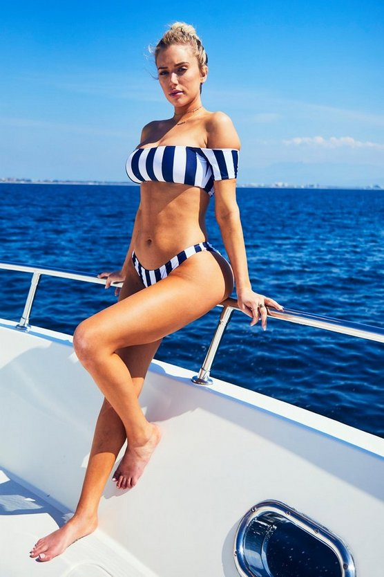 Sydney Nautical Stripe Bardot High Leg Bikini