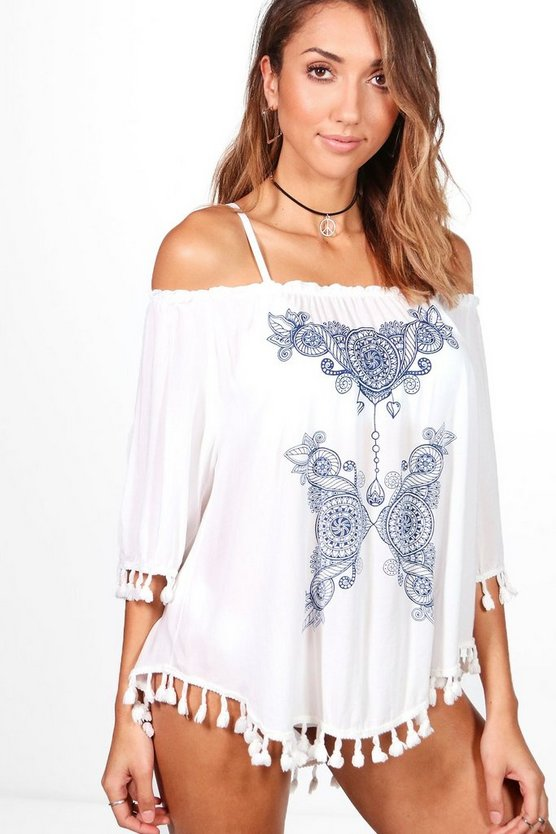 Connie Off The Shoulder Pom Pom Beach Cover Up Dress