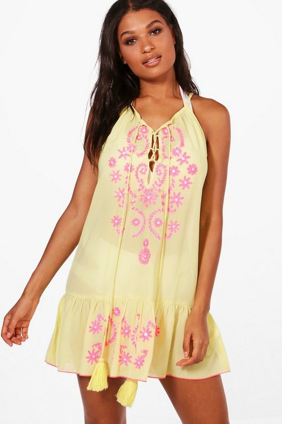 Nina Boutique Neon Embroidered Beach Dress