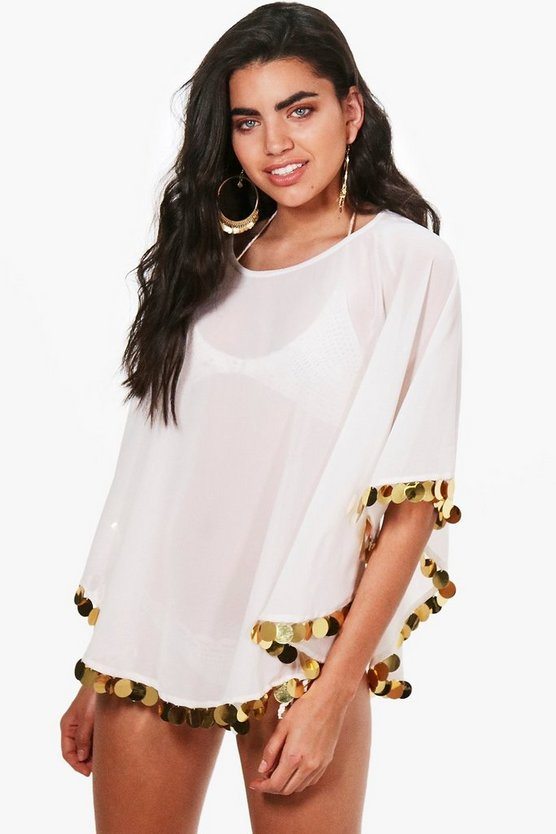 Eva Coin Trim Beach Cover Up