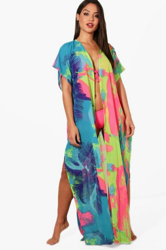 Holly Neon Tropical Belted Beach Kimono