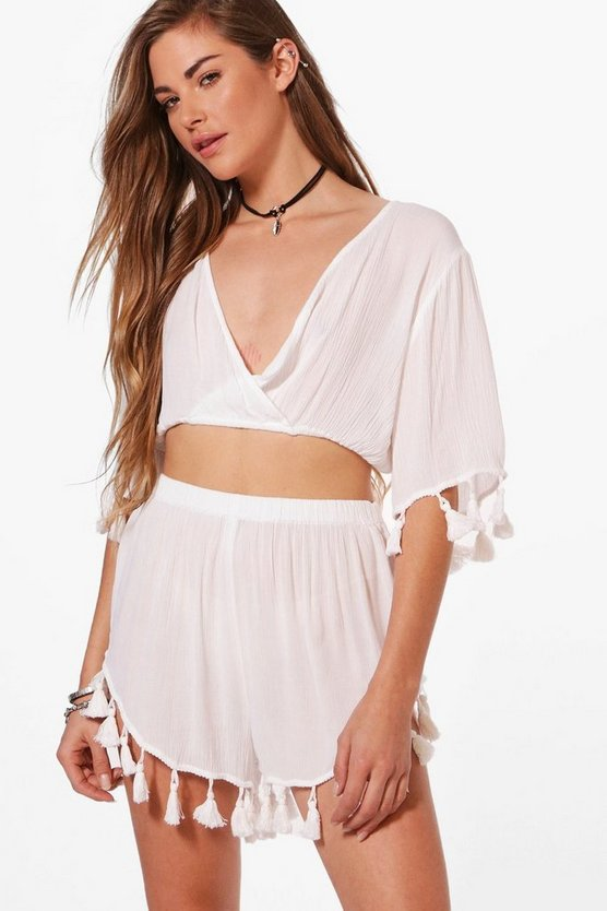 Evelyn Tassel Trim Cross Over Beach Co-ord