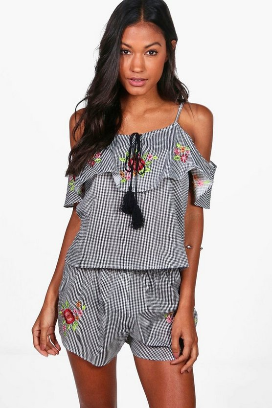 Bethany Boutique Embroidered Gingham Beach Co-ord