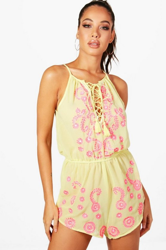 Nina Boutique Neon Embroidered Beach Playsuit