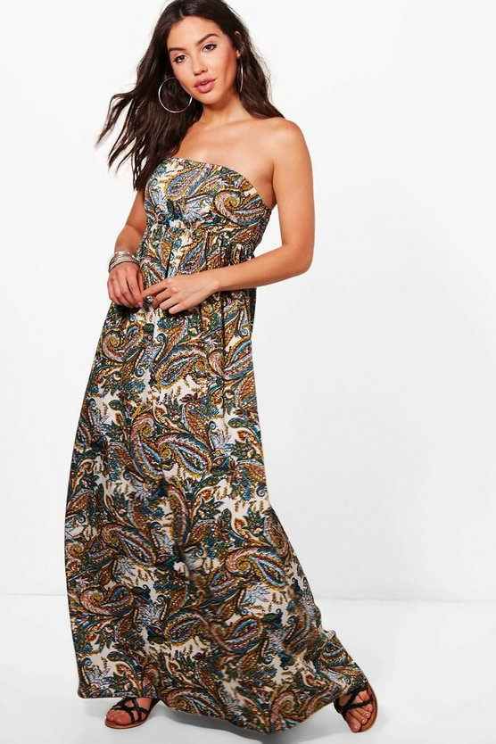Violet Paisley Shirred Maxi Beach Dress