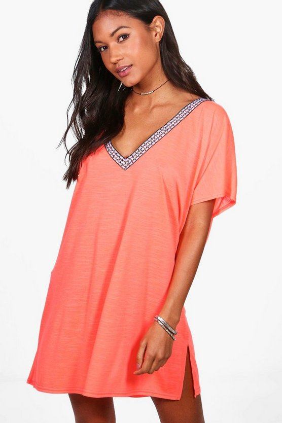 Olivia Embriodered Trim Beach Kaftan