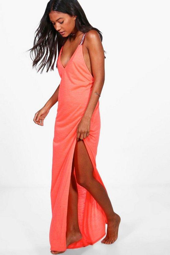 Boohoo Embroidered Strap Maxi Beach Dress Buy Cheap Order wTxVhlxn9