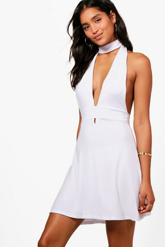 Alice Jersey Plunge Beach Mini Dress