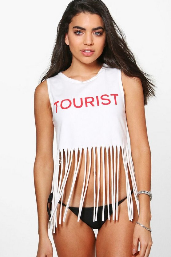 Lucy Tourist Fringed Beach Tee