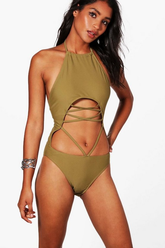 Melbourne Lace Up Halter Neck Swimsuit