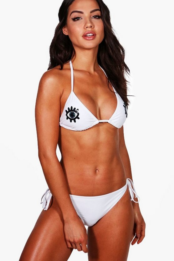 Maui Squin Eye Applique Triangle Bikini