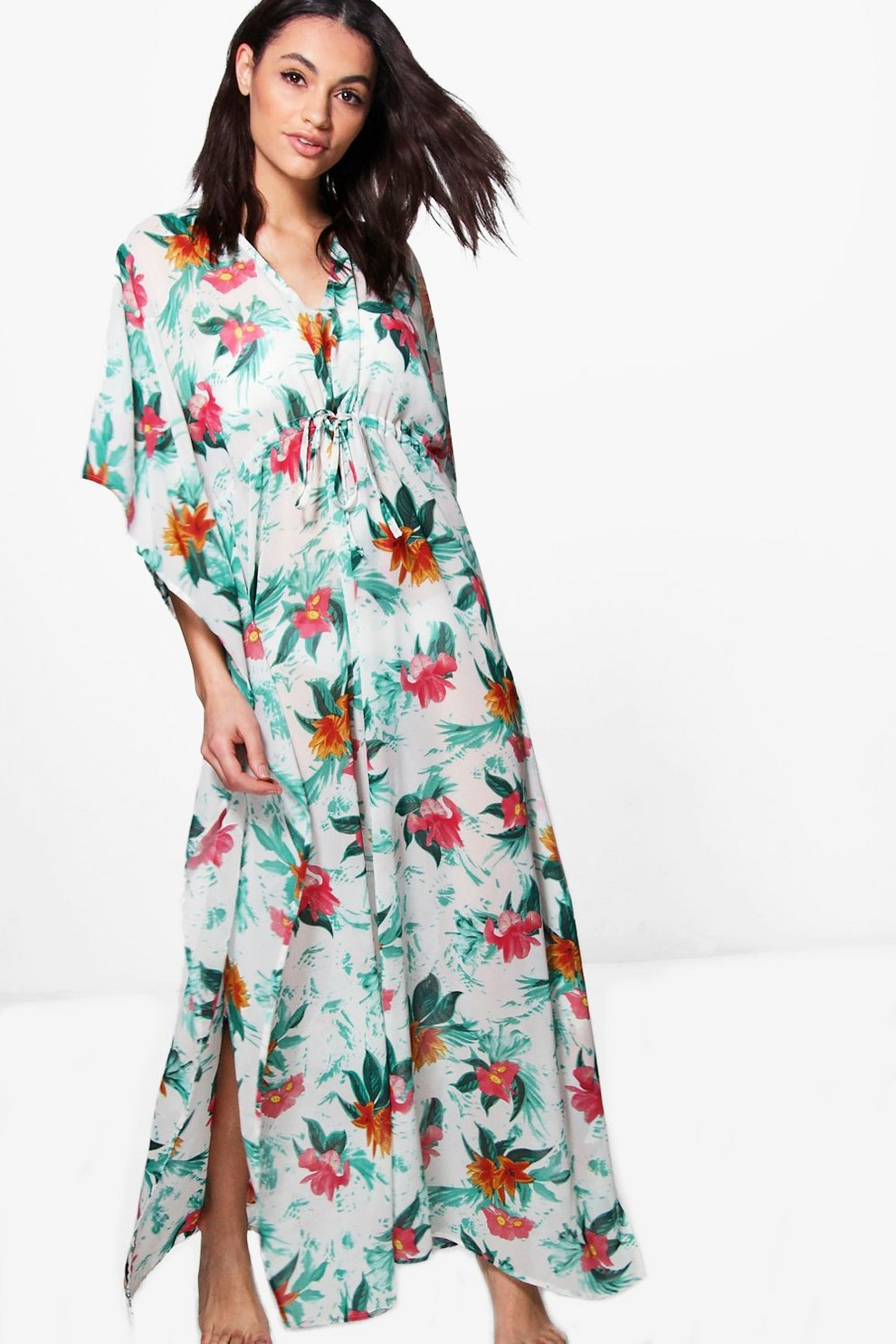Best Cheap Price Boohoo Tropical Maxi Beach Kimono Best Place Online From China Free Shipping Low Price Recommend Cheap Outlet Latest Collections SPn25rVloN