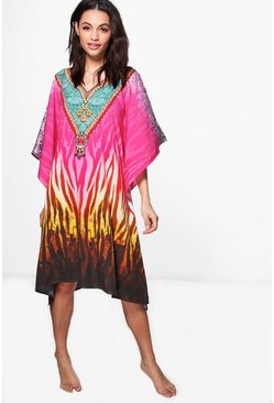 Holly Embellished Digital Print Short Kaftan