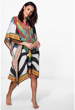 Evie Embellished Digital Print Short Kaftan
