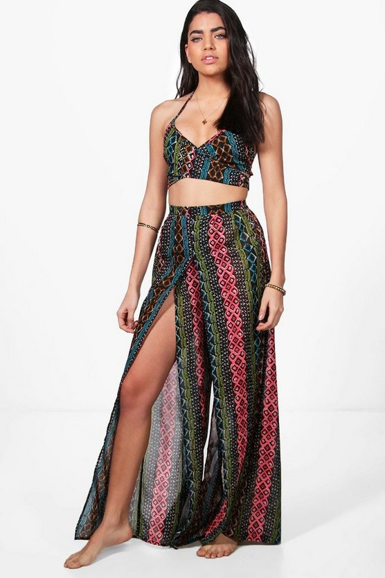 Olivia Neon Aztec Split Leg Beach Co-Ord