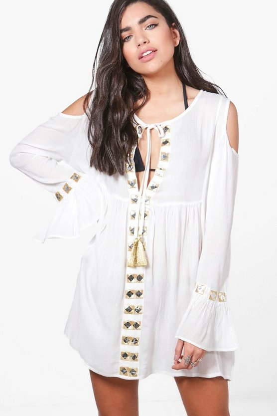 Bella Mirrored Cold Shoulder Beach Dress