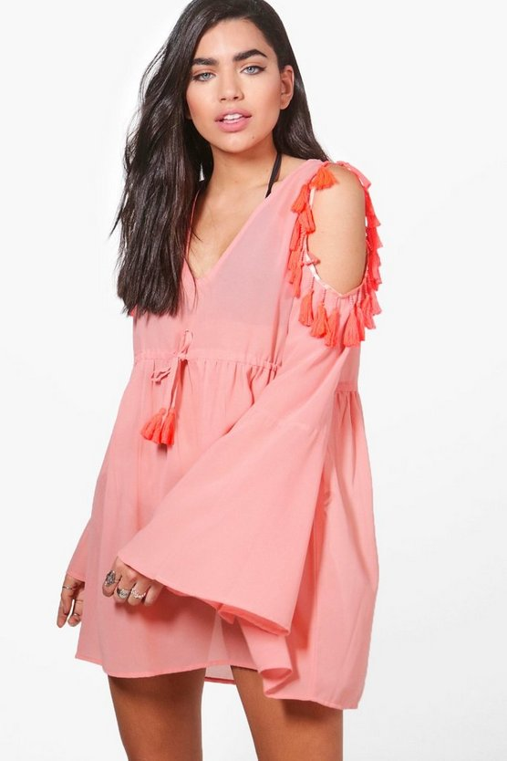 Ella Tassel Cold Shoulder Beach Dress