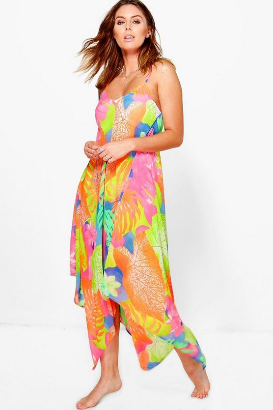 Lucy Neon Tropical Leaf Hanky Hem Beach Dress