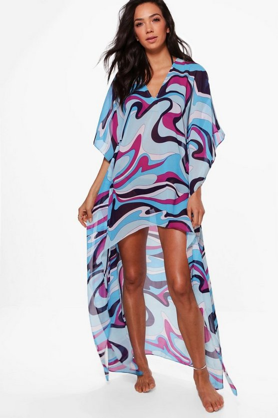 Olivia Colour Block Dip Hem Kaftan