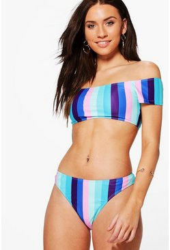 Las Vegas Striped Bardot High Leg Bikini