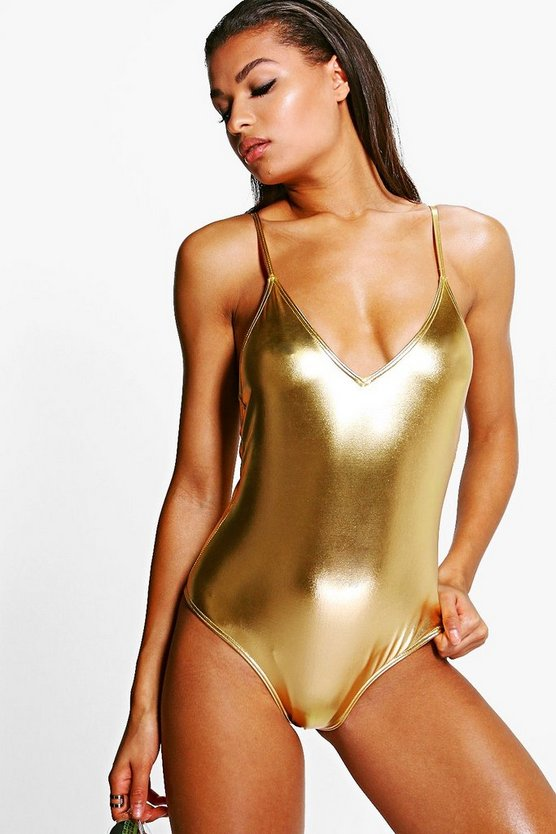 Ibiza Boutique Metallic Criss Cross Back Swimsuit
