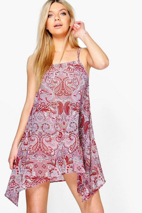 Charlotte Paisley Dip Hem Beach Dress