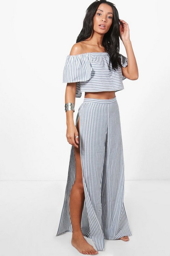 Keywest Pinstripe Split Leg Beach Co-ord