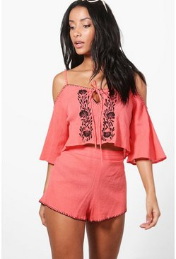 Cancun Embroidered Cold Shoulder Beach Co-ord