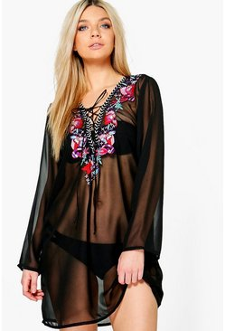 Naples Boutique Embroidered Lace Up Beach Kaftan