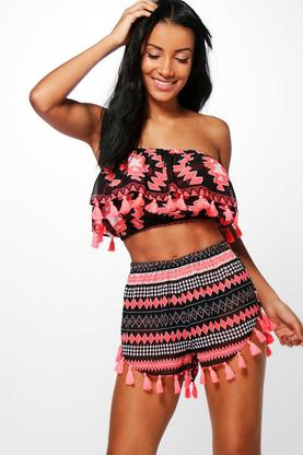 Jemima Tribal Print Tassel Beach Co-Ord Set