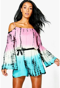 Emilia Tie Dye Cold Shoulder Beach Playsuit